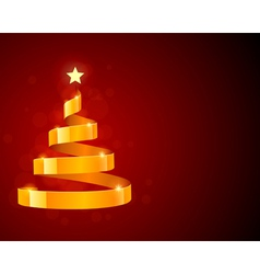 christmas tree from ribbon with star vector image
