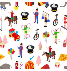 Circus amusement and attraction seamless pattern vector