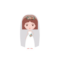 colorful caricature cute woman in wedding dress vector image