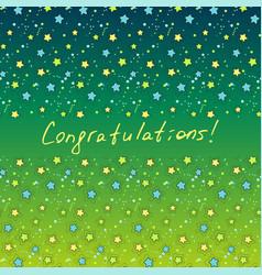Congratulation green card with star vector