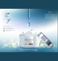 Cosmetic cream with diamond packaging brand vector