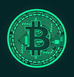 crypto currency bitcoin in trendy green colors vector image