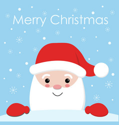 cute cartoon christmas card with santa claus vector image
