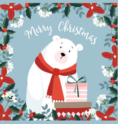 cute christmas greeting card invitation vector image