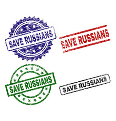 damaged textured save russians stamp seals vector image