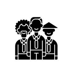 Diversity black glyph icon vector