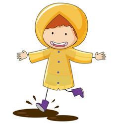 doodle kid wearing raincoat vector image