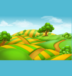 farm field landscape 3d background vector image