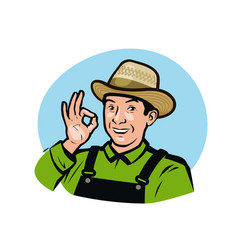 Farmer in overalls agriculture farm logo vector