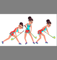 Field hockey female player dribbling ball vector