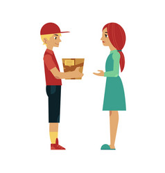 flat delivery man giving box to girl vector image