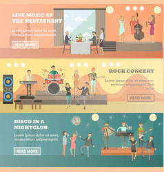 Flat set of musicians concept horizontal vector