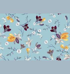 Floral fashion pattern with crocus flowers vector