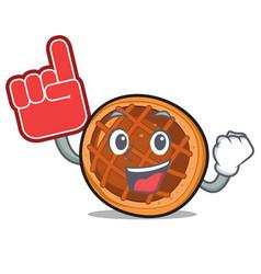Foam finger baket pie mascot cartoon vector