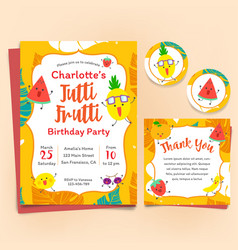 fruits theme birthday invitation set tutti frutti vector image