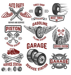 Garage service station tires shop auto parts vector