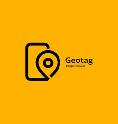 Geotag with mobile phone or location pin logo vector