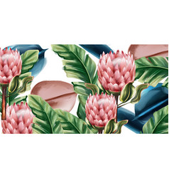 Ginger flowers tropic background watercolor vector