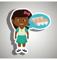 Girl cartoon eggs health food vector