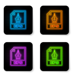 glowing neon eps file document icon download eps vector image