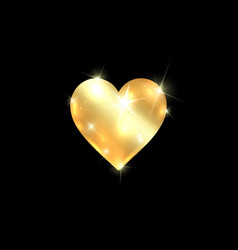 gold heart icon isolated golden heart on a black vector image