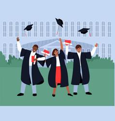 Graduates throw their graduation hats into sky vector