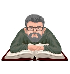 Grandfather reading book Old man in glasses vector