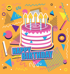 Happy birthday background with cake and abstract vector