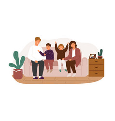 happy family smiling sitting on couch flat vector image