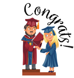 Happy graduates on celebration ceremony flat vector