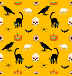 horror halloween orange seamless pattern vector image