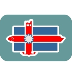 Iceland national flag with icons vector