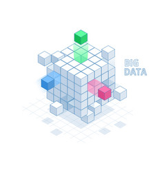 Isometric abstract big data cube box data vector