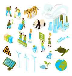 isometric ecology pollution icon set vector image