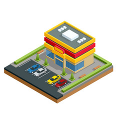 Isometric shopping mall or store parking and vector