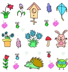Item spring set of doodles vector image