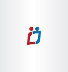 letter l and j people logo icon vector image