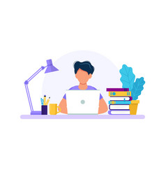 man with laptop studying or working concept vector image