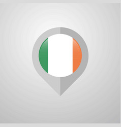 map navigation pointer with ireland flag design vector image