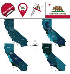 Map of california with regions vector