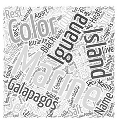 Marine iguana Word Cloud Concept vector