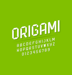 modern origami style font vector image