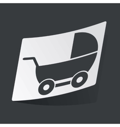 Monochrome pram sticker vector