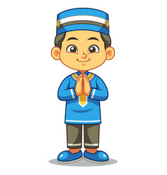 Moslem boy greeting salaam ramadan vector