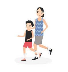 mother and son dressed in sportswear running or vector image