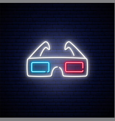 neon 3d glasses sign bright glowing glasses icon vector image