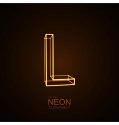 Neon 3D letter L vector image