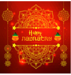 of happy navratri celebration poster vector image