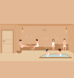 People wearing towels enjoys in sauna steam room vector