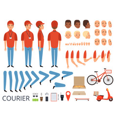 Pizza delivery animation fast food courier body vector